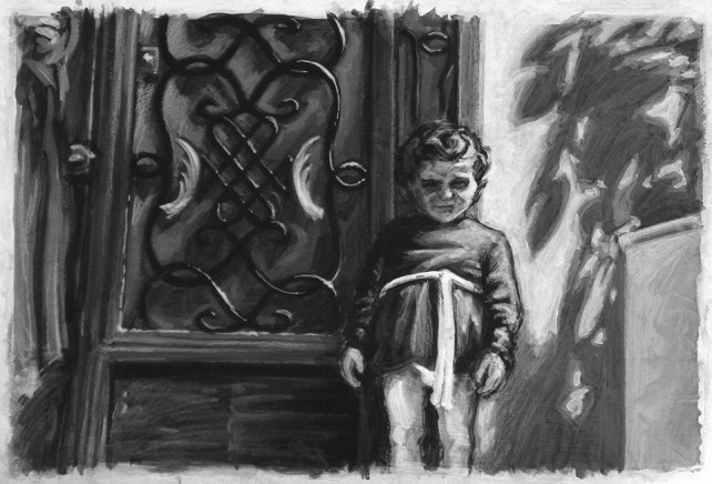 Acrylic - Scene, Child at Door