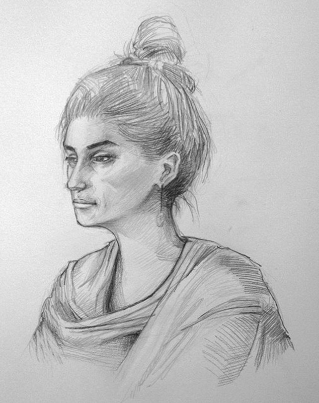 Pencil - Portrait, Girl, Gazing