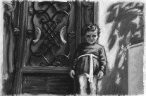 Acrylic – Scene, Child at Door