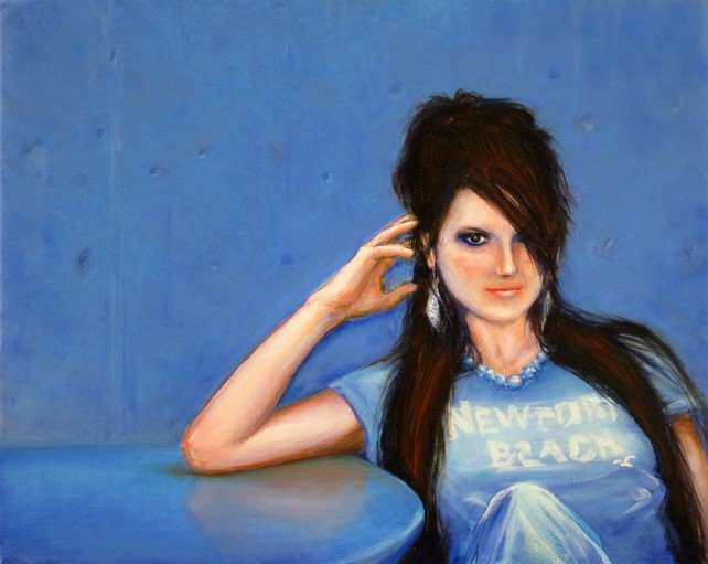 Oil Painting - Blue Girl, From Photo